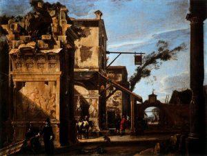Viviano Codazzi, Fantaisie architecturale avec auberge, env. 1650 (Palazzo Pitti, Florence)