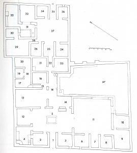 """L'établissement pompéien """"ad Gabinianum"""" (VI 9, 1.14). Plan : J. Packer, Inns at Pompei. A Short Survey, Cronache Pompeiane, 4, 1978, p. 25, fig. 13"""